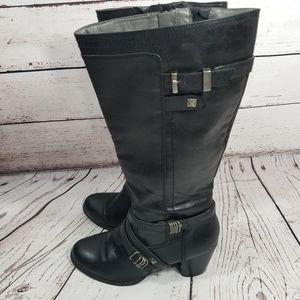 💙 RIALTO BLOCK HEEL BOOTS BLACK SIZE 9M Claudette
